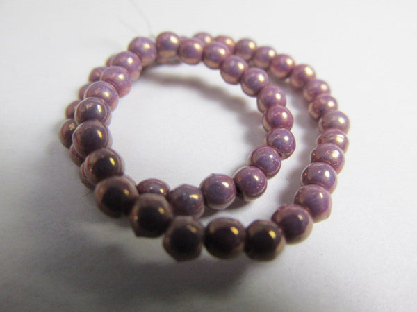 Purple Opal Czech Glass 3mm Round Druks Jewelry Beads (50)-Jewelry Beads-Odyssey Cache