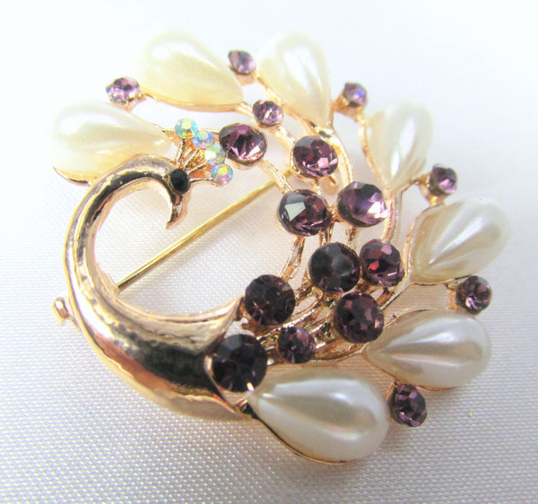 Small Peacock Brooch in Purple Crystals and Ivory Pearls in Gold - Odyssey Cache