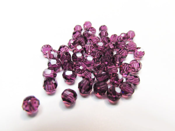 Purple Amethyst Swarovski Crystal 4mm Faceted #5000 Round Jewelry Beads (20)-Jewelry Beads-Odyssey Cache