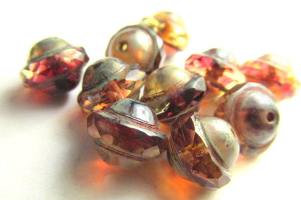 Fuchsia Amber Picasso Czech Glass 10mm x 8mm Saturn Beads - Odyssey Cache