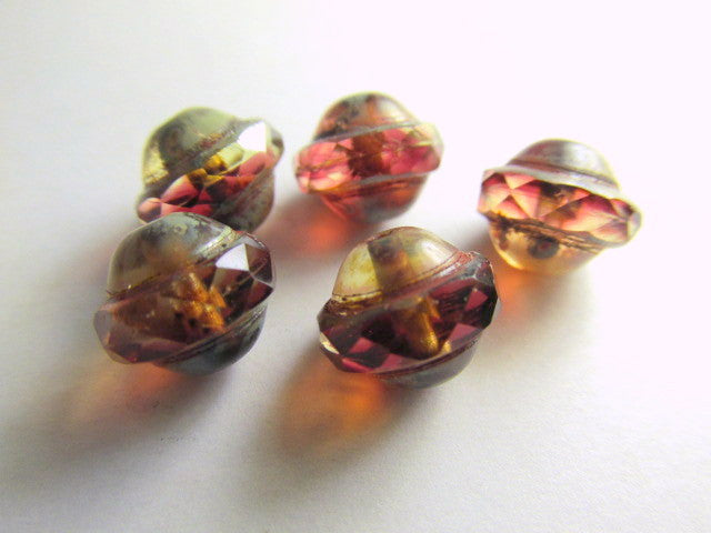 Fuchsia Amber Picasso Czech Glass 10mm x 8mm Saturn Beads-Jewelry Beads-Odyssey Cache