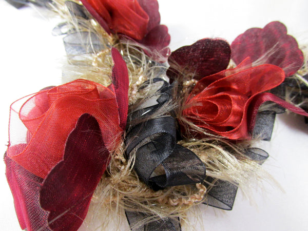 Marsala Red, Black and Taupe Ruffled Rose Stretch Craft or Bridal Flower Trim - Odyssey Cache - 4