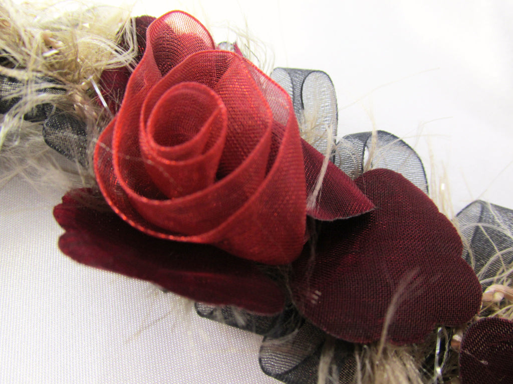 Marsala Red, Black and Taupe Ruffled Rose Stretch Craft or Bridal Flower Trim - Odyssey Cache - 1