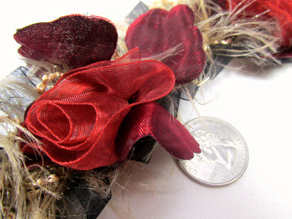 Marsala Red, Black and Taupe Ruffled Rose Stretch Craft or Bridal Flower Trim-Trims-Odyssey Cache