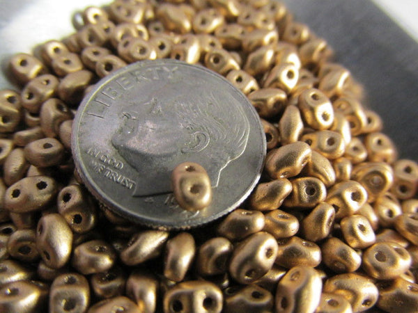 Antique Gold Matte MiniDuos Czech Glass 2.5 x 4mm jewelry beads (10 grams) - Odyssey Cache