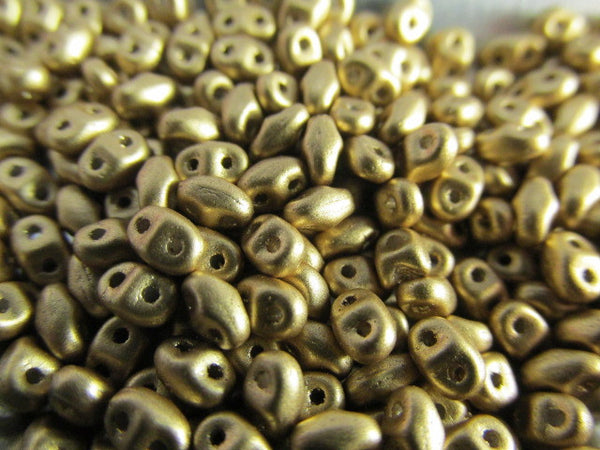 Gold Matte MiniDuos Czech Glass 2.5 x 4mm jewelry beads (10 grams)-Jewelry Beads-Odyssey Cache