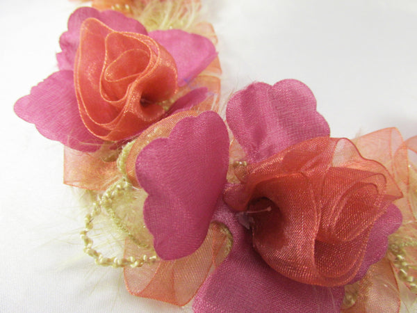 Mauve and Pink Coral Ruffled Rose Craft or Bridal Flower Trim-Trims-Odyssey Cache