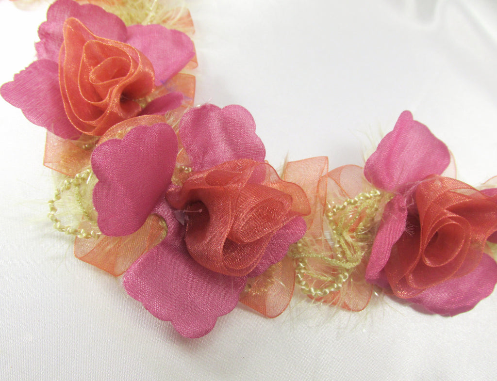 Mauve and Pink Coral Ruffled Rose Craft or Bridal Flower Trim-Trims-1 flower-Odyssey Cache
