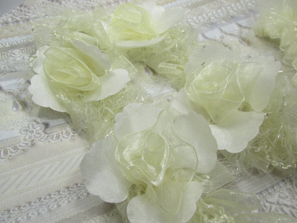 Ivory Vintage Inspired Ruffled Rose Craft or Bridal Flower Trim-Trims-4 flowers-Odyssey Cache