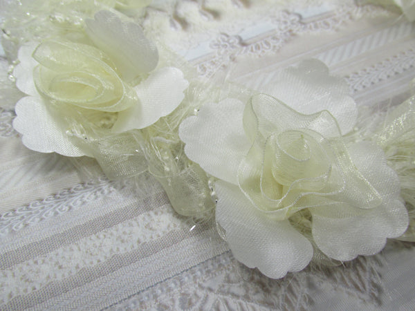 Ivory Vintage Inspired Ruffled Rose Craft or Bridal Flower Trim - Odyssey Cache
