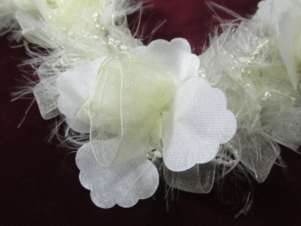 White Vintage Inspired Ruffled Rose Craft or Bridal Flower Trim - Odyssey Cache