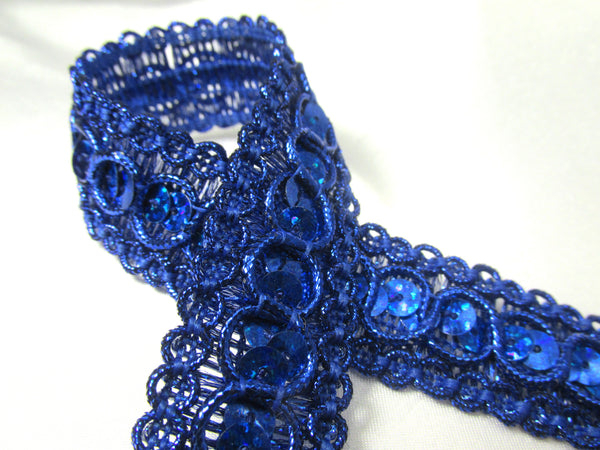 Remnants Royal Blue Holographic 7/8 inch wide Circle Style Sequined Trim-Trims-Precut 1 Yard 14 inches-Odyssey Cache