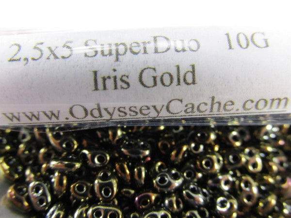 Iris Gold Czech Glass 2.5 x 5mm Superduos (10 grams)-Jewelry Beads-Odyssey Cache