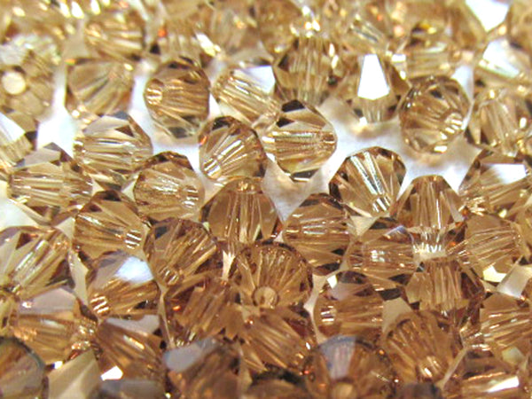 Light Colorado Topaz Swarovski 5301 Bicone 4mm Jewelry Beads (25 beads)-Jewelry Beads-Odyssey Cache