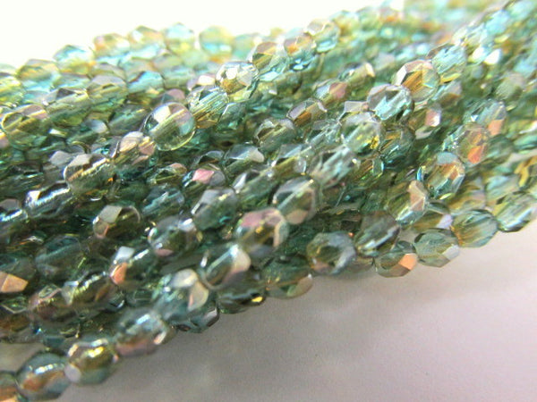 Aqua Celsian 3mm Czech Glass Fire Polished Jewelry Beads (50)-Jewelry Beads-Odyssey Cache