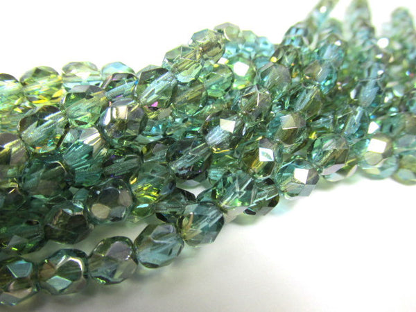 Aqua Celsian 6mm Glass Fire Polished Jewelry Beads (25)-Jewelry Beads-Odyssey Cache