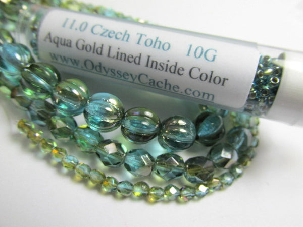 Aqua Gold Lined Inside Color 11.0 Glass Toho Seed Beads (10 grams)-Jewelry Beads-Odyssey Cache