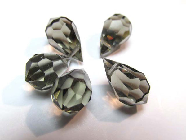 Gray Black Diamond Preciosa Czech Crystal 15mm x 9mm Faceted Teardrops-Jewelry Beads-Odyssey Cache