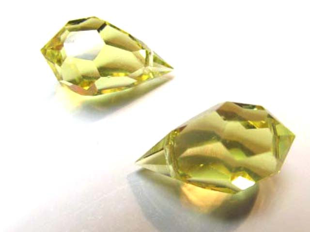 Yellow Jonquilla Preciosa Czech Crystal 15mm x 9mm Faceted Teardrops - Odyssey Cache