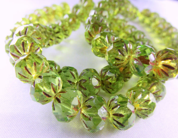 Green Bronze Picasso Czech Faceted Carved Cruller 9mm x 6mm Rondelles-Czech Glass-10 beads-Odyssey Cache