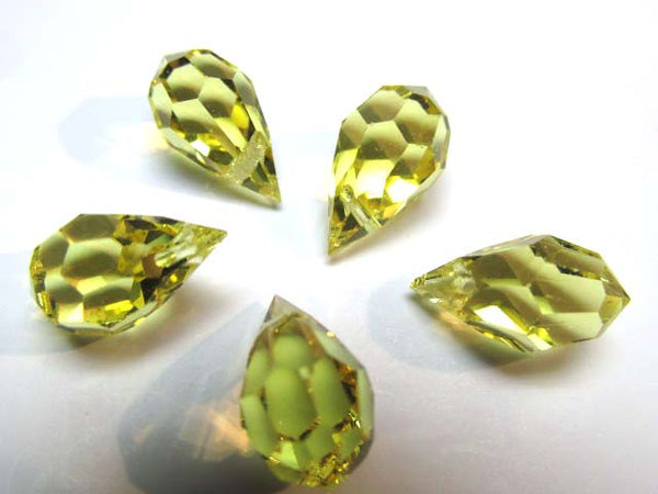 Yellow Jonquilla Preciosa Czech Crystal 15mm x 9mm Faceted Teardrops-Jewelry Beads-Odyssey Cache