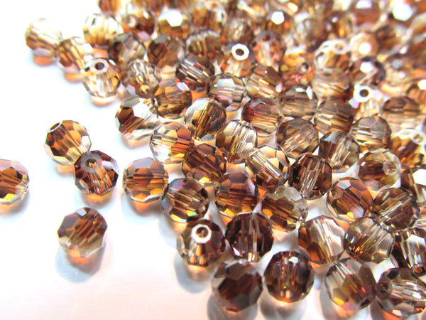 Crystal Venus Czech Glass Preciosa 4mm Faceted Round Brown Jewelry Beads (35 beads) - Odyssey Cache
