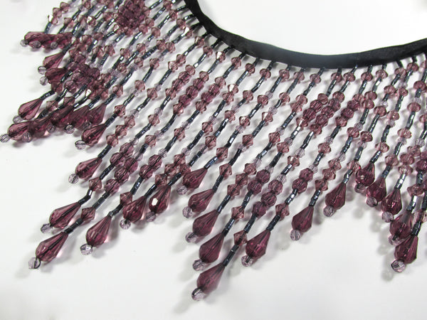 Plum and Purple Shadows 5.5 Inch Graduated Long Beaded Fringe Trim-Beaded Fringe-1/2 Yard-Odyssey Cache