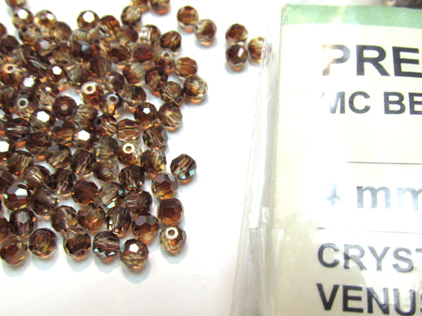 Crystal Venus Czech Glass Preciosa 4mm Faceted Round Brown Jewelry Beads (35 beads)-Jewelry Beads-Odyssey Cache