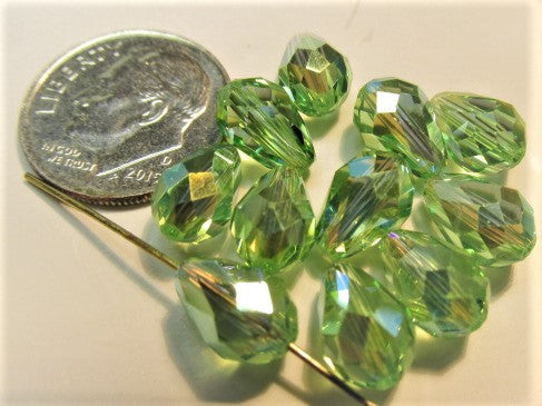 Peridot Green AB 9mm x 6mm Swarovski Crystal 5500 Teardrops (5)-Jewelry Beads-Odyssey Cache