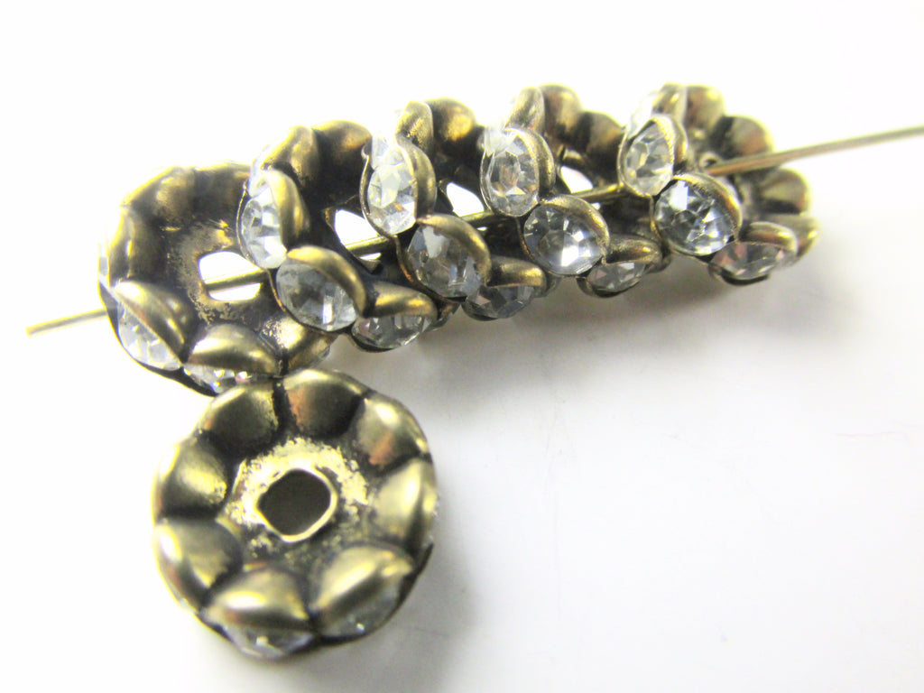 Antique Brass Wavy 10mm Metal and Clear Crystal Rondelle Spacer Beads (6) - Odyssey Cache