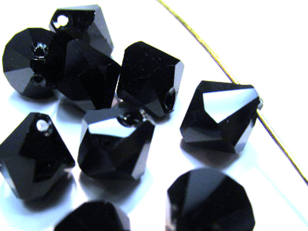 Jet Black Swarovski Art. 6301 8mm Top Drilled Bicone Crystals (10) - Odyssey Cache