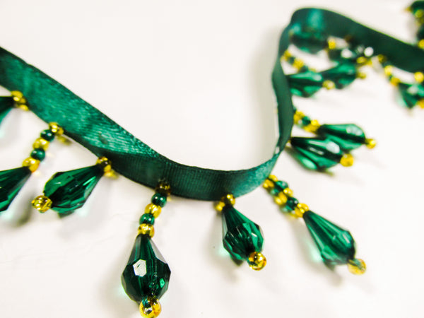 Forest Green and Gold Short Beaded Fringe Trim - Odyssey Cache
