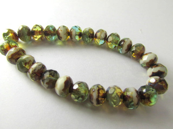 Green Brown Beige Mix Czech Glass 7mm x 5mm Faceted Rondelles-Jewelry Beads-25 beads (full strand)-Odyssey Cache