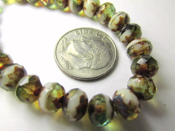 Green Brown Beige Mix Czech Glass 7mm x 5mm Faceted Rondelles-Jewelry Beads-10 beads-Odyssey Cache