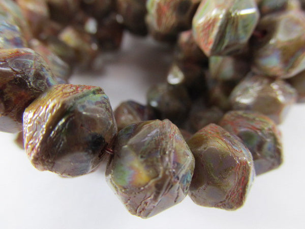 Multicolor Green, Brown, Red 10mm Czech English Cut Faceted Jewelry Beads - Odyssey Cache