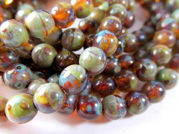 Multicolor Green, Brown, Dark Red Czech 6mm Round Druks (30)-Jewelry Beads-Odyssey Cache