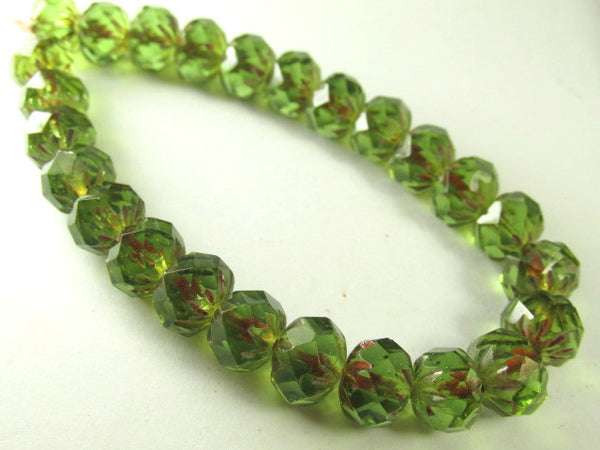 Green Bronze Picasso Czech Faceted Carved Cruller 9mm x 6mm Rondelles-Czech Glass-Odyssey Cache