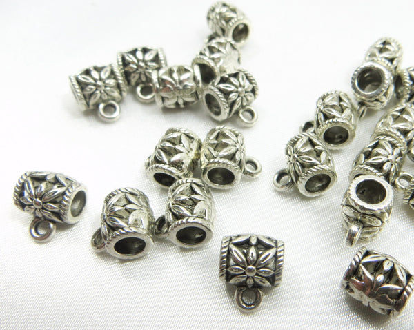 Silver Large Hole 8mm x 6mm Charm Holder Pewter Metal Beads with 4mm holes-Metal Beads and Findings-Odyssey Cache