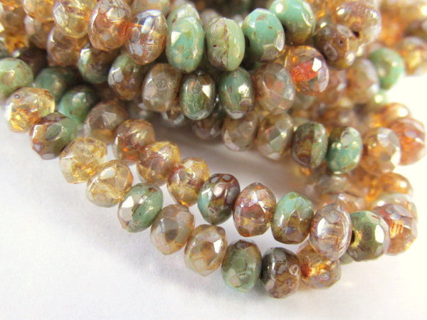 Champagne Gold Green Czech Glass 5mm x 3mm Faceted Rondelles (30 beads) - Odyssey Cache