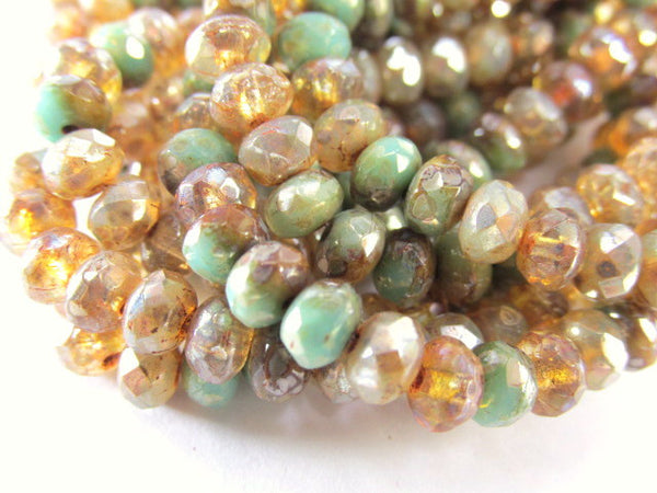 Champagne Gold Green Czech Glass 5mm x 3mm Faceted Rondelles (30 beads)-Jewelry Beads-Odyssey Cache