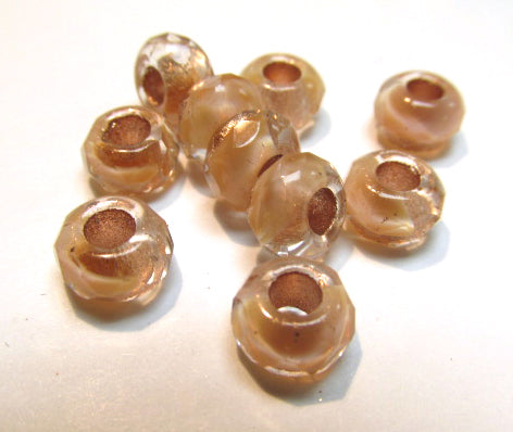 Light Rose Copper Czech Glass Roller 9mm x 6mm Faceted Rondelle Jewelry Beads (10)-Jewelry Beads-Odyssey Cache