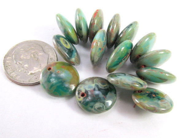 Aqua Green Turquoise Czech Glass 12mm Top Drilled Lentil Beads - Odyssey Cache - 5