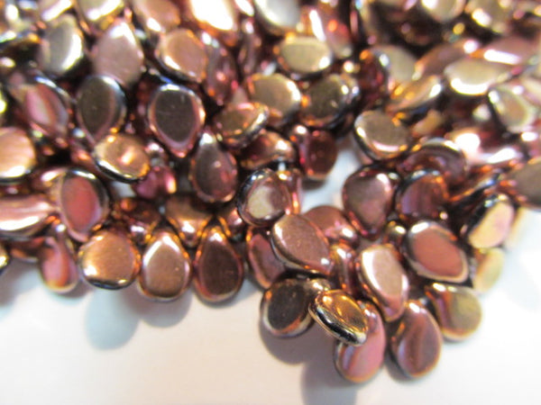 Rose Gold Shiny Czech Glass 7mm x 5mm Pip Beads (50)-Jewelry Beads-Odyssey Cache