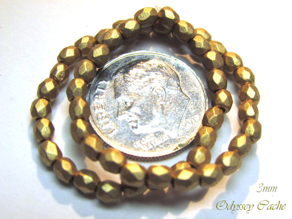 Gold Matte Czech Glass Fire Polished 3mm, 4mm or 6mm Jewelry Beads-Czech Glass-Odyssey Cache
