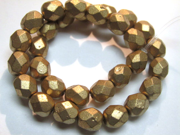 Gold Matte Czech Glass Fire Polished 3mm, 4mm or 6mm Jewelry Beads-Czech Glass-6mm (25 beads)-Odyssey Cache