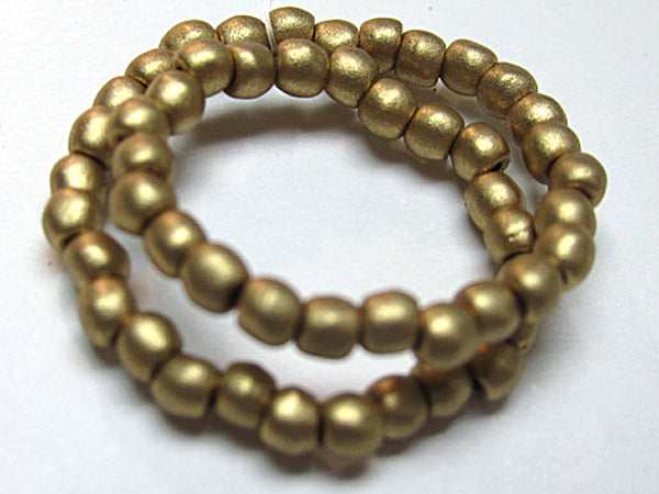 Antique Gold Pearl Czech Glass 3mm Round Druk Jewelry Beads - Odyssey Cache