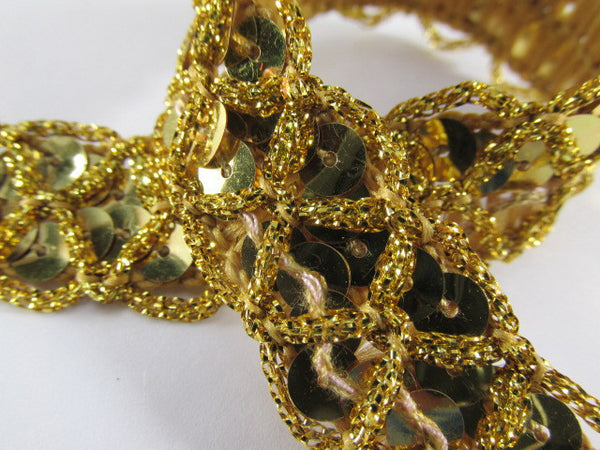 Red, Black, Silver or Gold Criss Cross 3/4 inch Wide Scallloped Sequined Trim-Trims-Gold-Odyssey Cache