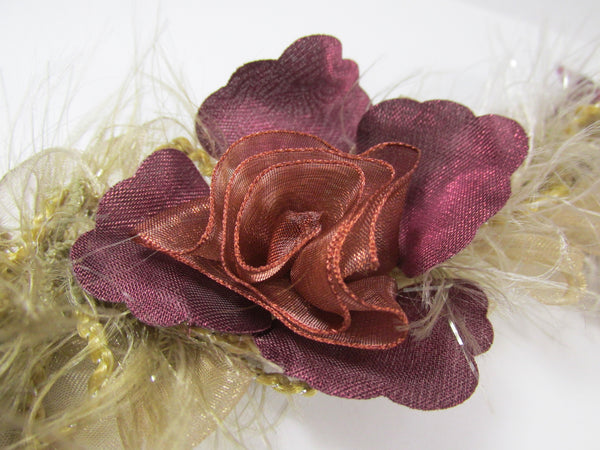 Plum Mauve Rust, and Tan Ruffled Rose Craft or Bridal Flower Trim-Trims-1 flower-Odyssey Cache