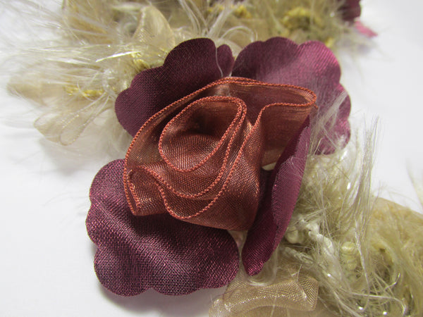 Burgundy, Marsala Red and Beige Ruffled Rose Craft or Bridal Flower Trim-Trims-2 flowers-Odyssey Cache