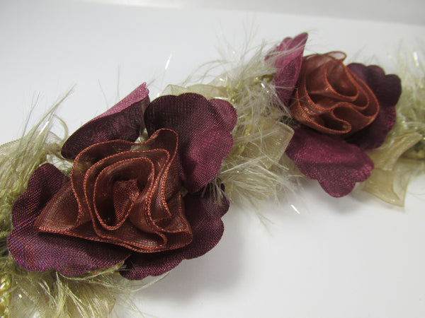 Plum Mauve Rust, and Tan Ruffled Rose Craft or Bridal Flower Trim-Trims-Odyssey Cache